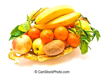 fruits on a platter on white