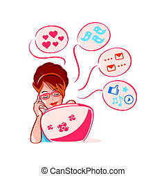 Social media girl - Cheerful young girl into social media...