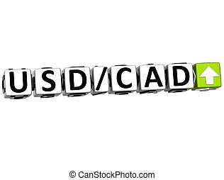3D Currency USD CAD rate concept symbol button on white...