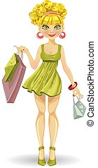 girl in green with shopping bags