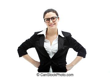 Confiado, mujer de negocios, Manos, Caderas