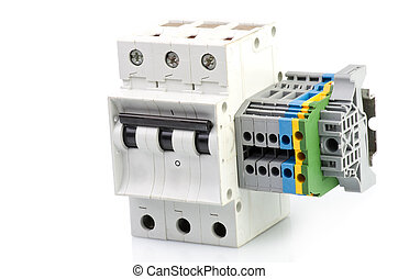 Automatic circuit breaker, on a white background
