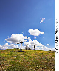 Glade with a chapel and memorable crosses in the ancient...