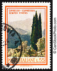 Postage stamp Italy 1966 Cypresses, Cupressus Sempervirens -...
