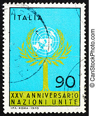 Postage stamp Italy 1970 Tree and UN Emblem - ITALY - CIRCA...