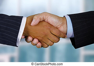 Handshake - Business team shaking hands while in their...