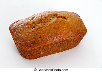 Banana Bread Loaf - Single Banana Bread Loaf on White...