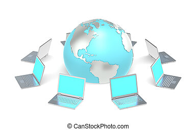 Global Network. - 8 Laptops in a circle around the Globe....