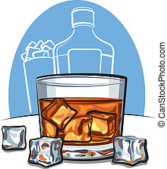 Glass of scotch whiskey and ice cubes