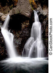 waterfall - a waterfall that splits left and right into a...