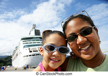 Mother and Daughter - Family on Cruise Ship