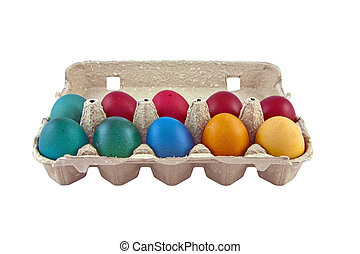 Easter eggs in egg carton - Colorful easter eggs in egg...