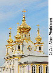 White Cathedral with golden cupolas in Peterhof - Series of...