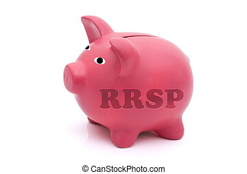 Saving for your retirement - A pink piggy bank with rrsp on...