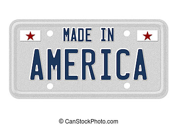 Made in America License Plate - The words made in America in...