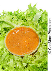 escarole endive with romesco sauce, a typical salad from...