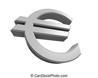 Rendered 3D image of a Euro symbol