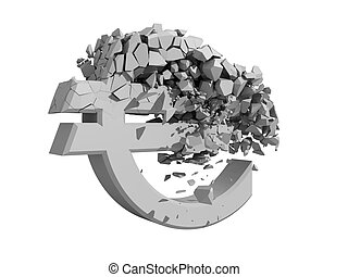 Rendered image of a crumbling Euro symbol