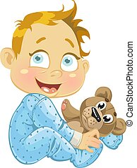 baby boy with a soft toy bear0jpg - baby boy with a soft toy...