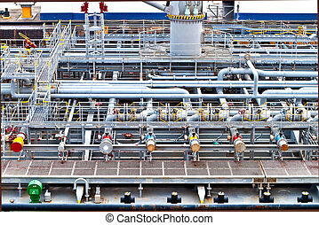 Ship vessel deck - View on top of a vessel ship deck with...