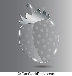 Realistic glass strawberry. Vector illustration.