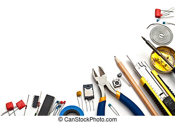 Electronics background - Set of electronic tools and...