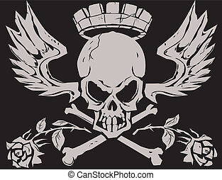 King Crossbones - A stony, regal skull 'n bones with wings...
