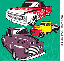Hot Rod Trucks - Clip art of classic and custom built trucks