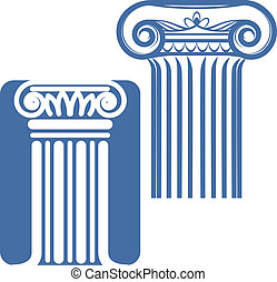Ionic Columns - Two stylized blue ionic style columns