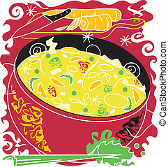 Chicken Noodle Soup - Stylized art of chicken noodle soup...