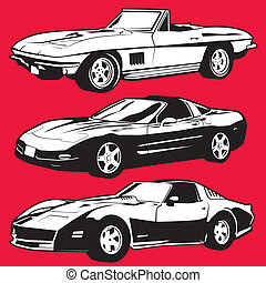 Three Corvettes - Collection of black and white corvette...