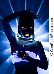 Disco girl with glow make-up dance in uv light - Girl with...