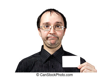 Confused men with businesscard - Confused surprised men with...