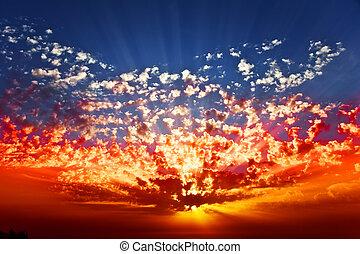 Solemn grandiose sunset on coast of the southern sea