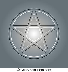 Pentagram, an occult sign in light
