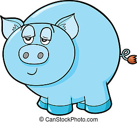 Lazy Farm Pig Vector Illustration Art