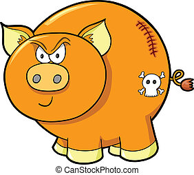 Angry Tough Farm Pig Vector