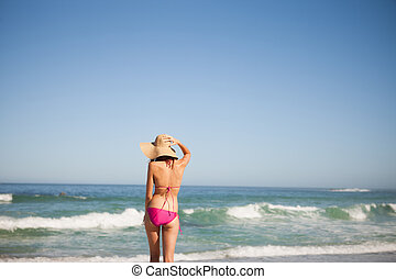 Back view of an attractive woman in beachwear standing on the beach