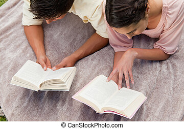 Elevated view of two friends reading while on a blanket -...