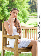 Woman on a bench in the park