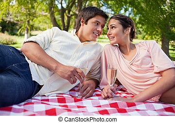 Two friends looking at each other while having a picnic -...