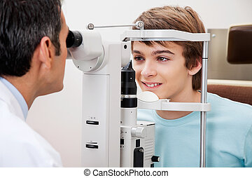 Visual Field Test Performed On a Boy - Measurement of...
