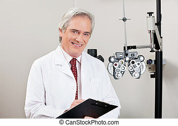 Smiling Optometrist With Notepad