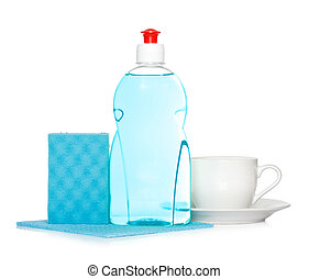 dishwashing liquid with clean cup and sponge