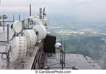 Communication equipment at mountain Jested near Liberec,...