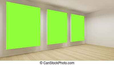 Clean school room, empty 3d space with three green chroma...