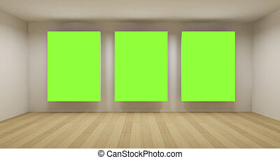 Business room, 3d art with empty space, three green chroma...