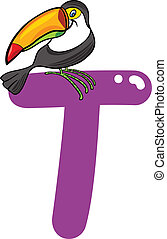 T for tucan - cartoon illustration of T letter for tucan