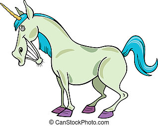 cartoon unicorn - cartoon illustration of funny fantasy...