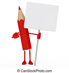 red pencil billboard - red pencil figure point finger on...